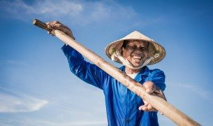 Blue Fisherman Portrait by Graeme Heckels Hoi An Travel Photography, Vietnam