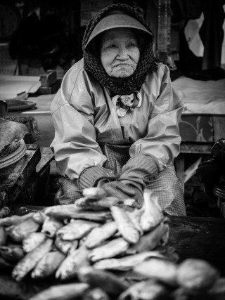Candid street portrait of an old lady surrounded by fish, taken on a bitterly cold day at Busan fish market