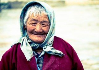 Portrait of a elderly lady character in Bhumtang, Bhutan