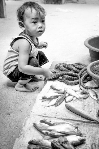 Little Boy plays with snake in Siem Reap Market by Graeme Heckels Travel Photography