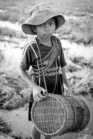 Young Farm Worker in Siem Reap Countryside by Graeme Heckels Travel Photography