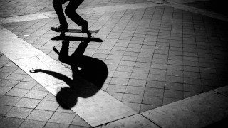 Skateboard shadows in Lisbon by Graeme Heckels Travel & Street Photography