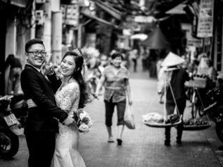 Black and White photo by Graeme Heckels Hanoi Street Photography Marry Me
