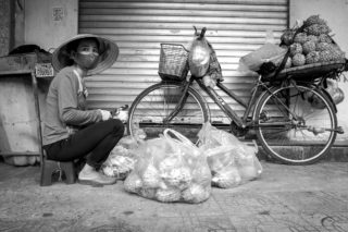 Black and White photo by Graeme Heckels Hanoi Street Photography Pineapple